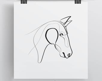 Horse Print - Original Wall Art - Equine With One Line - Minimal Pony Portrait - Horse Art