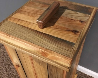 Reclaimed wood storage bin, rustic laundry hamper, dog food storage bin, rustic kitchen trash can, primitive potato bin, Laundry room