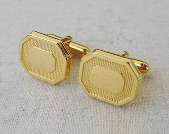 Geometric Octagon Cufflinks, Vintage Mens Accessories, Gold Tone, Gift For Him, Groom Cufflinks, Best Man, Wedding Jewelry, Anniversary Gift