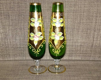 Two vintage Handpainted Emeral Green Vases
