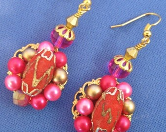 Upcycled Vintage Fuschia Hot Pink Faux Pearl & Red Earrings