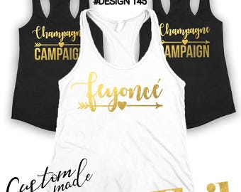 Champagne campaign tanks, Bridal party shirts, Bridesmaid gift, bridesmaid shirt, bridal shirts, Bachelorette party shirt, Bridesmaid shirts