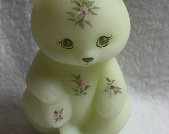 Fenton Art Glass Bear with Pink Flowers (#047)