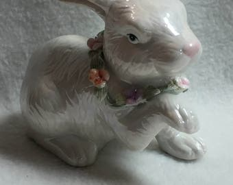 Bunny Rabbit Figurine with Porcelain Floral Collar (#049)