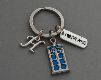Doctor Who Keyring , Initia Keyring, Tardis Keychain, Police Box,  Blue Tardis, Dr who gifts, Doctor Who BBC Cosplay, Doctor who keychain