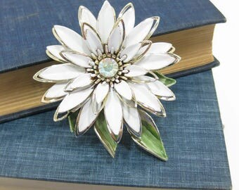 Vintage Gold Tone & White Enamel Gerber Daisy Brooch with Aurora Borealis