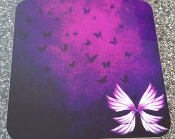 Purple Butterfly Coaster Set of 4