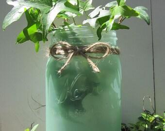Sea Glass Mason Jar Vase - Seafoam Green