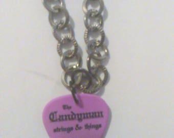 Purple guitar pick chain necklace