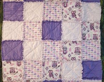 Owl & Elephant Baby Flannel Rag Quilt