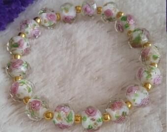 Rose Lampwork Bracelet