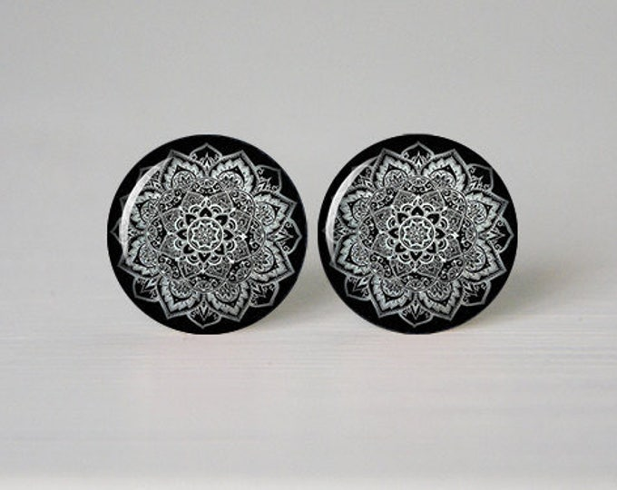 Mandala Earrings, Grey and Black, Boho Earrings, Yoga Gift, Trending Bohemian Stud, Colorful Jewelry, Cabochon Jewelry, Spiritual Gift Hindu