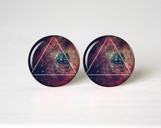 Galaxy Earrings, Space Earrings, Universe Earrings, Galaxy Triangle Earrings, Galaxy Jewelry, Solar System