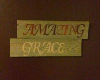 Grey weathered amazing grace wall hanging