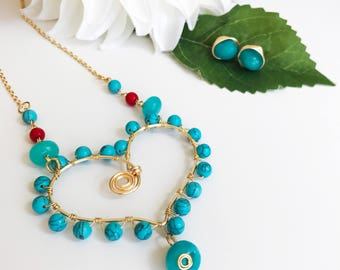 Turquoise Love Necklace Set Earrings and Necklace together
