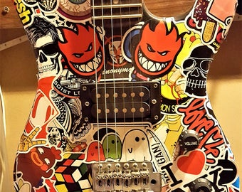 Sticker bomb graffiti electric guitar - 6 string electric guitar : totally unique and orginal