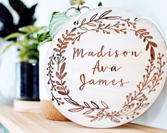 Custom and Engraved Name Wall Plaque, Wooden Name Sign, Personalised Wooden Art, Baby Nursery Decor, Baby Shower Gift/Present,