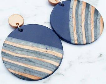 Copper and Navy Stripe Earrings