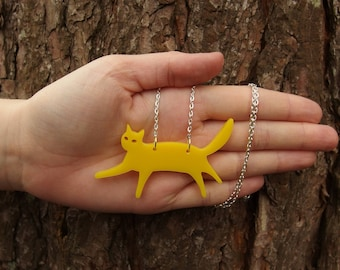 """Yellow Laser Cut Acrylic Cat Necklace 20"""" Silver Chain"""