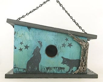 Unique, Handmade, Wooden Birdhouse with Playful Coyote Prints