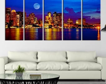 Boston City Decorative Wall Art Canvas Print   Boston Skyline, Boston,  Boston Canvas,