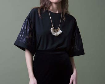 Oversize Black Silk Blouse, Black Blouse, Puff sleeves Top, Bohemian Top, Elegant Bell Sleeves blouse, Unique Short Top, Shimmer Embroidery