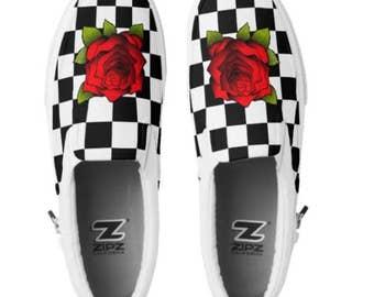 Custom Flower checkered Slip on shoes