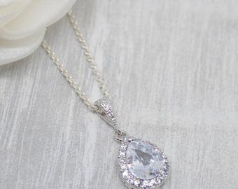 Necklace 925 silver drop crystal wedding Jewelry Bridal Jewelry
