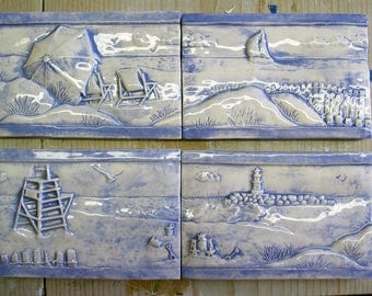Beach Border Tile in Periwinkle with Clear Glaze
