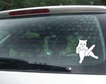FUNNY!! (3) Cool Cat Vinyl Decal Stickers!! Gag gift, prank!!