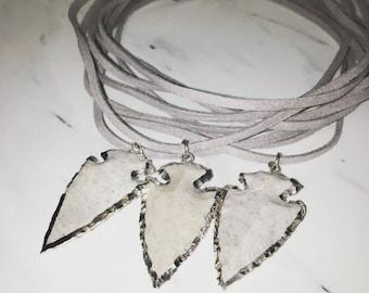 Arrowhead Wrap Necklace / Triple Wrap