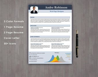 resume template instant download teacher resume 1 page resume 2 page resume