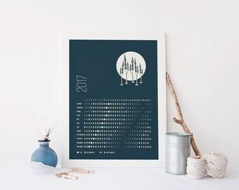 Printable NORTHERN Hemisphere, Moon Calendar 2017, lunar calendar, printable moon phases calendar, printable lunar calendar