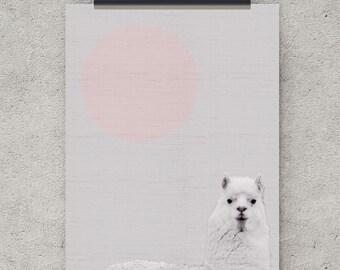 Alpaca print, Andes, Animal Wall Art, Large Art Poster, Nursery Art, Digital Download, wall art printable, digital art prints, furry art