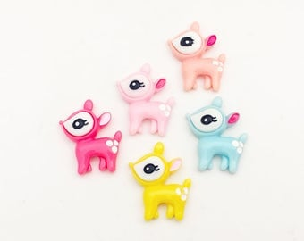 Deer Cabochons (10 pcs) Kawaii Cabochons Resin Flat Back Cell Phone Deco