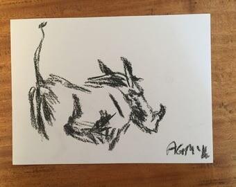 Warthog charcoal sketch (original)