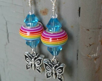Flutterby Murano Bead Earrings
