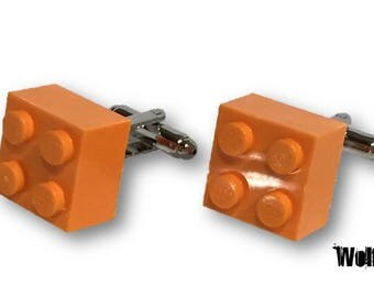 Bright Orange Lego Cufflinks Silver Plated Base, Perfect for Wedding, Gift, Grooms man, Best Man, Men, Kingsday