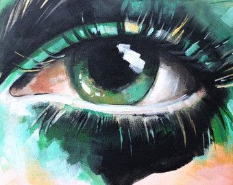Acrylic Painting on Canvas - Contemporary Eye Painting, Editorial Eyes, Green Abstract Eye Painting, Portrait Painting