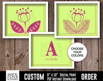 CUSTOM Printable  Print, Nursery Wall Art, Girls Flower Nursery Art, Printable Monogram, Girls Nursery Art, pdf Digital Download, Sku-CNA100