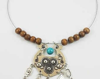 handmade wood and stone  necklace