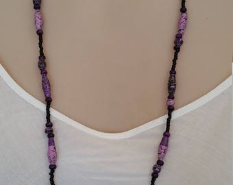 Purple tapered and saucer shaped paper bead and seed bead necklace