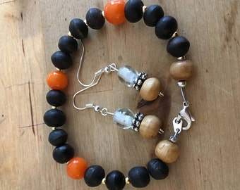 Lobster claw clasp bracelet and earrings set