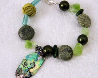 "Beaded Bracelet with Beads, Stones and Paua Shell  ""Beyond the Beach"""
