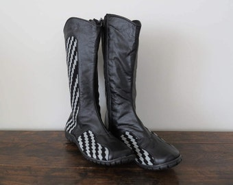 Womens Boots Szie 38, Black Leather Boots, Handmade Wayuu Boots
