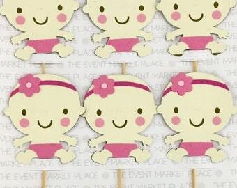 Baby Girl Cupcake Topper - Baby Sitting