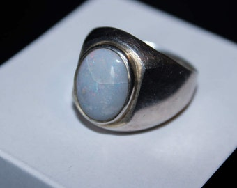 925 Sterling Silver Men's Ring - Beautiful White Pearlescent Rare Aqeeq Ring