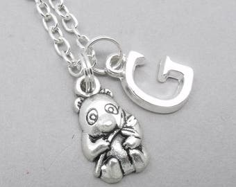 Panda monogram necklace | panda charm necklace | panda pendant | personalised panda necklace | panda jewelry | initial letter | birthstone