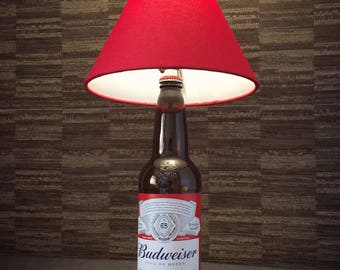 Budweiser Beer Bottle Lamp With Red Shade Upcycled