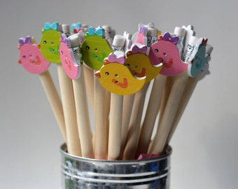 Easter chicks decorative pencils Pack of 5